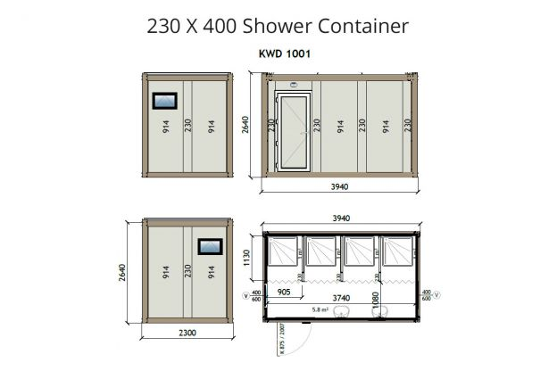 KW4 230X400 Shower Container