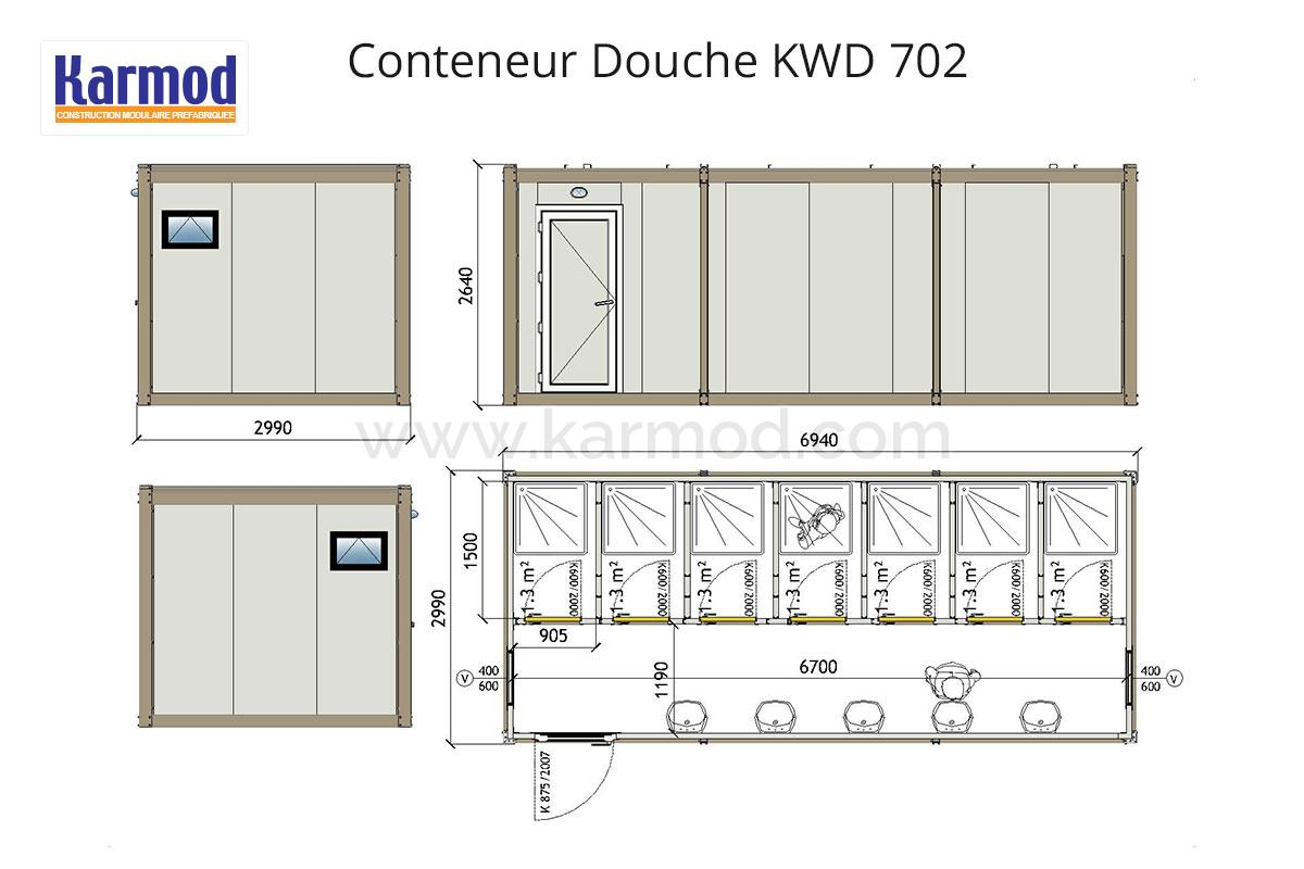 kwd 702 conteneur douche sanitaires campings. Black Bedroom Furniture Sets. Home Design Ideas