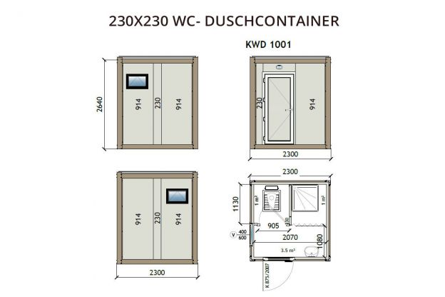 230X230 WC - Duschcontainer