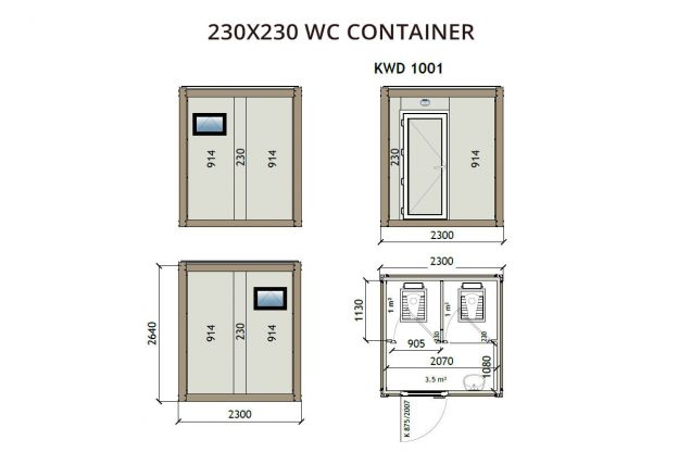 230X230 WC Container