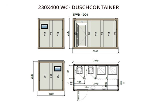 230X400 WC - Duschcontainer