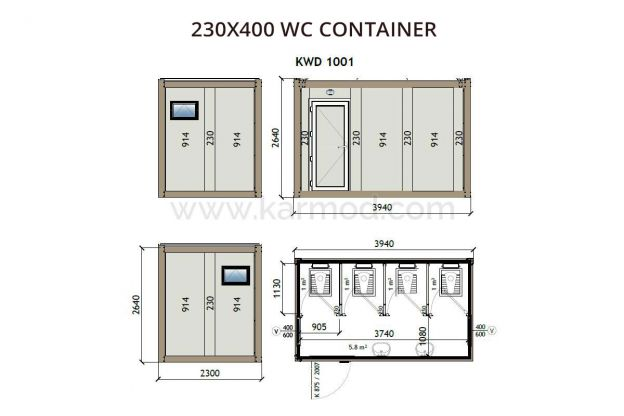230X400 WC Container