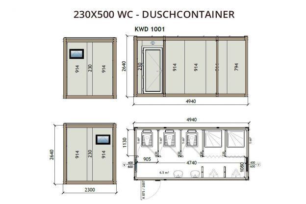230X500 WC – Duschcontainer