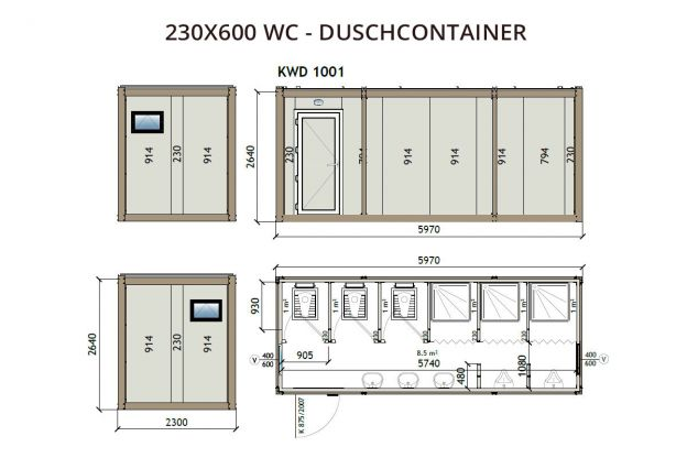 230X600 WC - Duschcontainer
