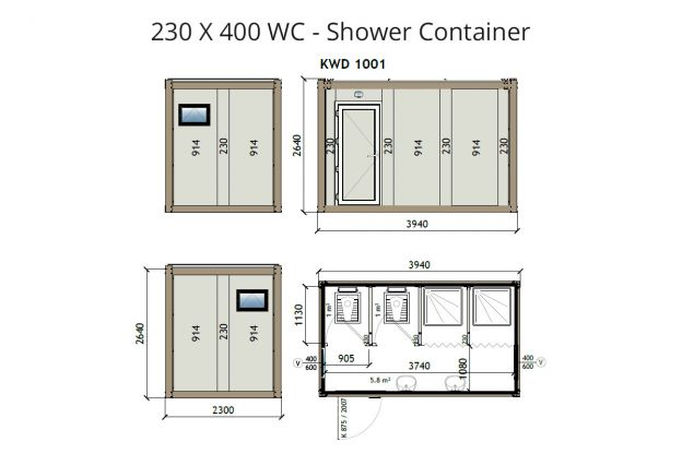 KW4 230X400 WC - Shower Container
