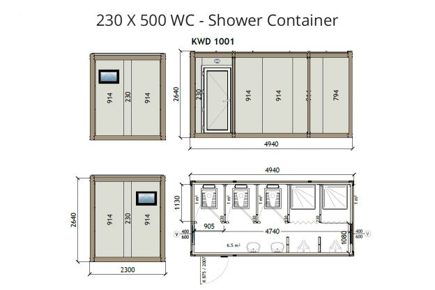 KW6 230X500 Wc - Shower Container