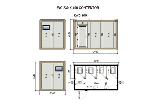 Contentor WC 230X400