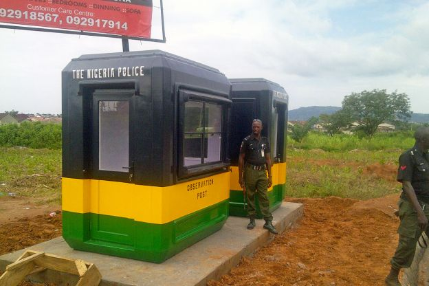 Karmod set up security booths for the police in Nigeria