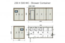 WC toilet shower container units